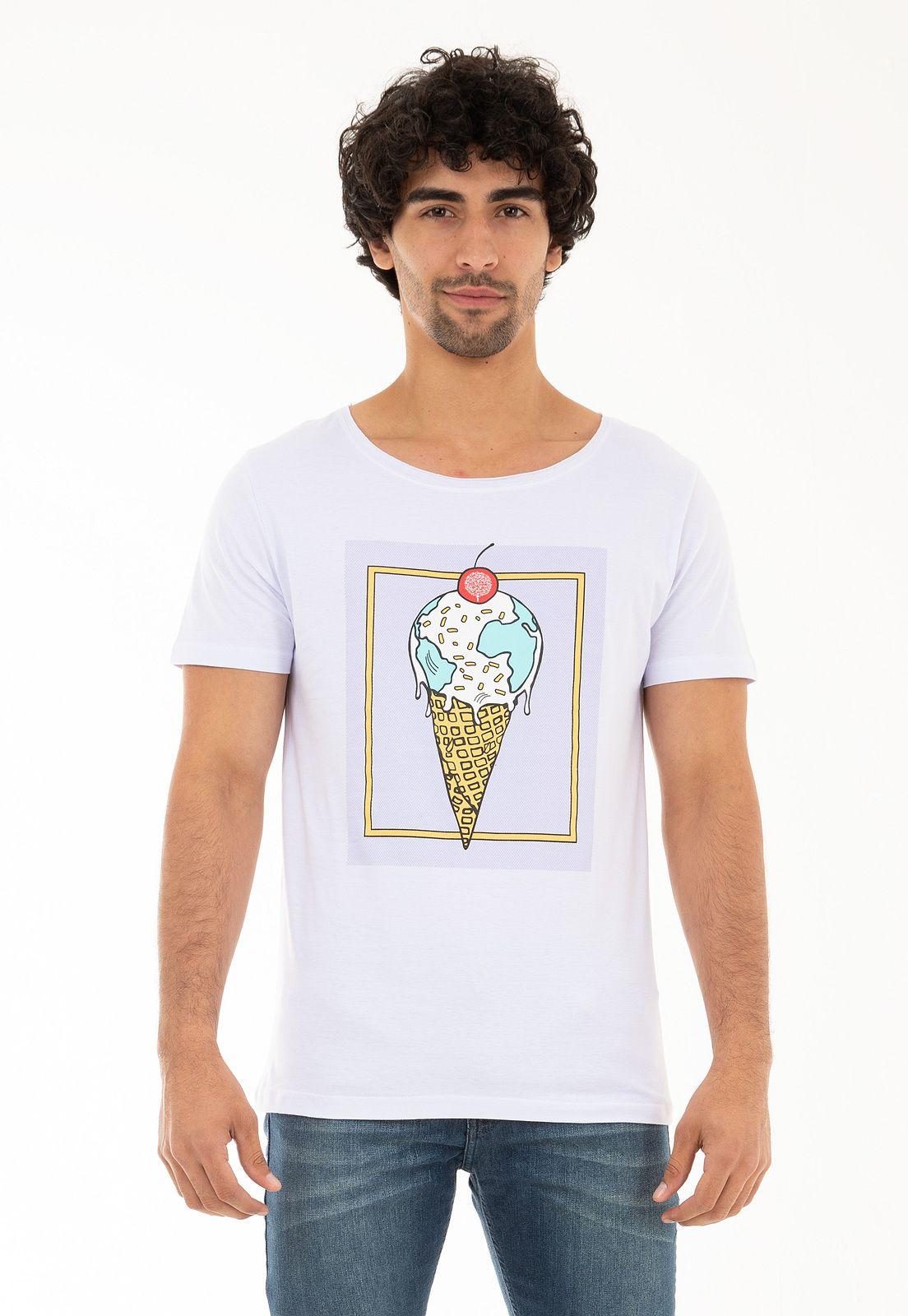 Camiseta Gola Canoa Sorvete Ice Globe KSA da árvore - Branca