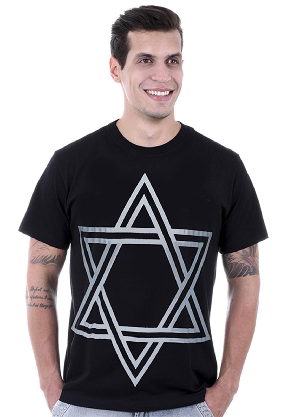Camiseta Hardivision Estrela  de Davi Manga Curta Preto