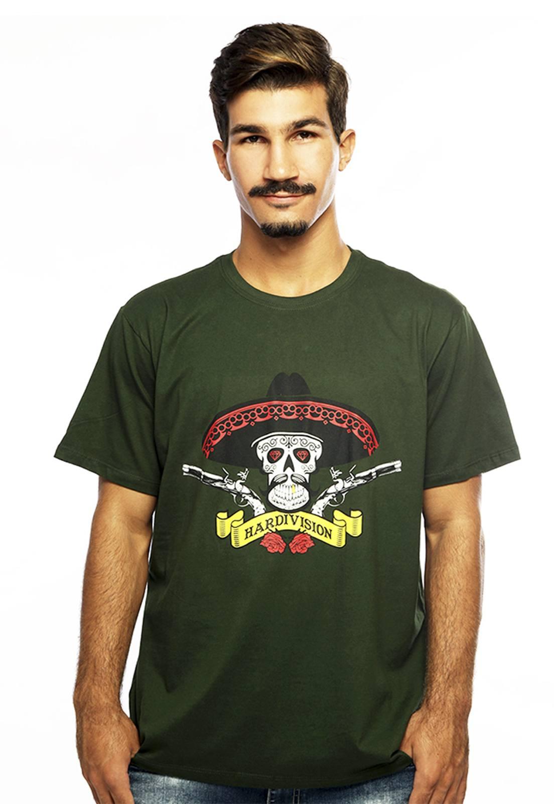 Camiseta Hardivision Hombre Manga Curta Verde