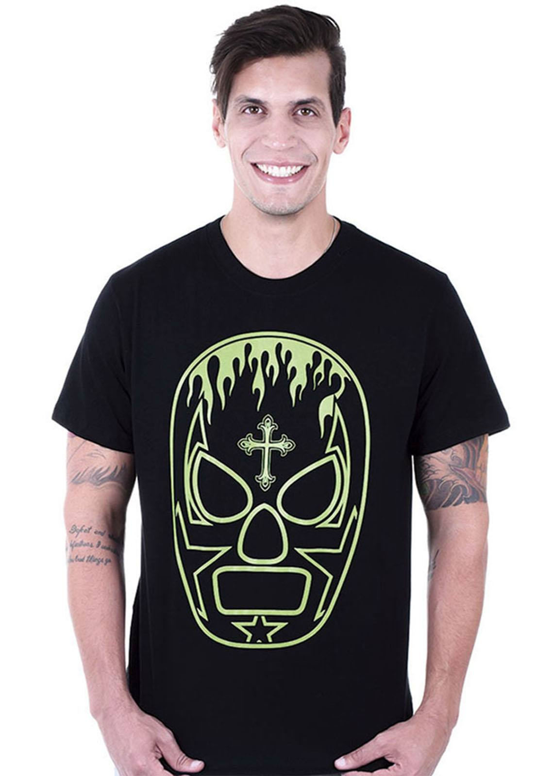 Camiseta  Hardivision Lucha Libre Manga Curta Preto