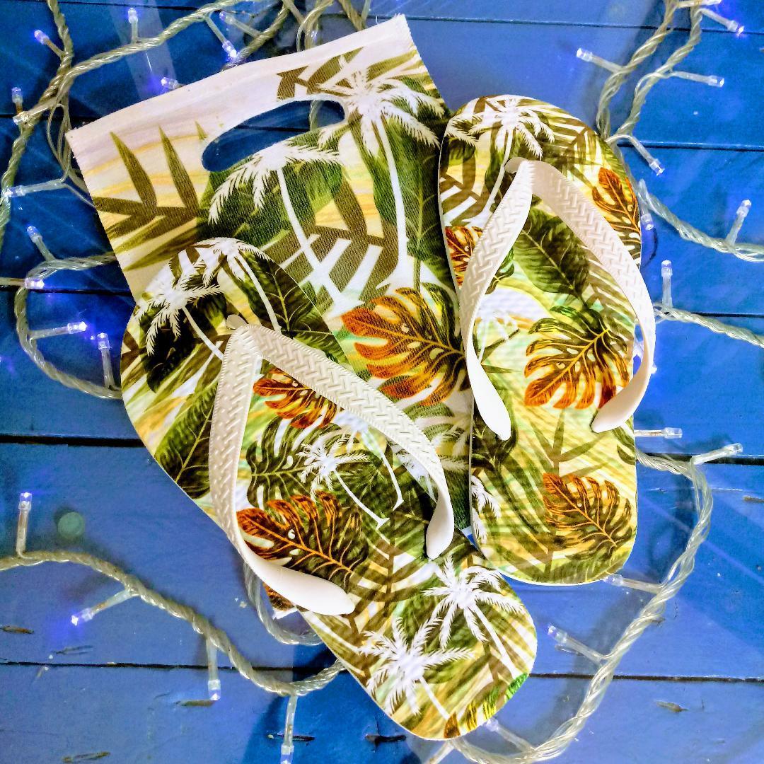 Chinelo Tropical / Coqueiros Folhas