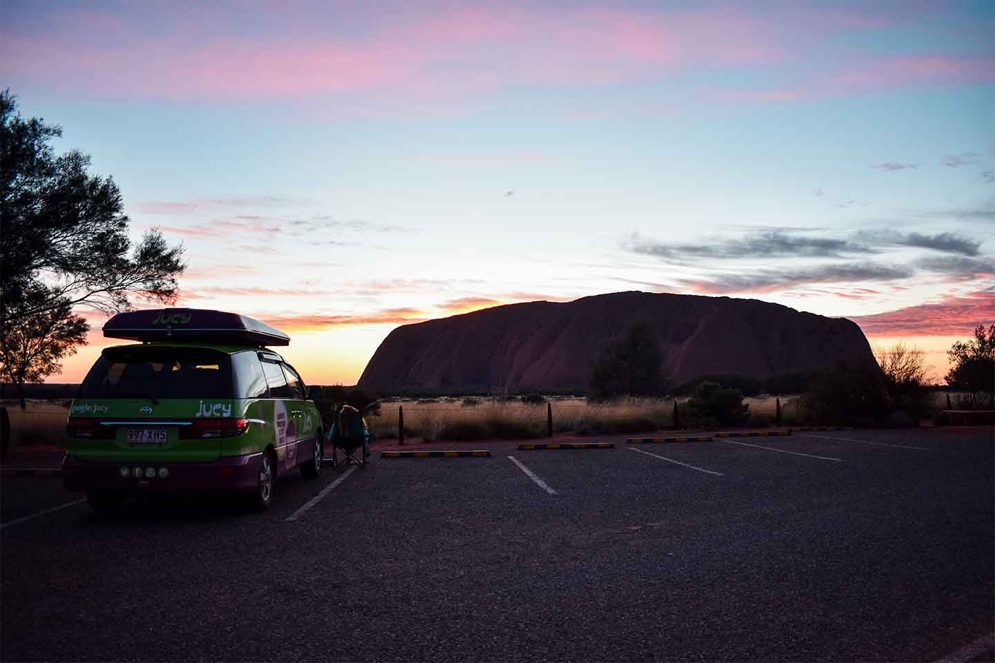 ayers rock champ parked up at sunset
