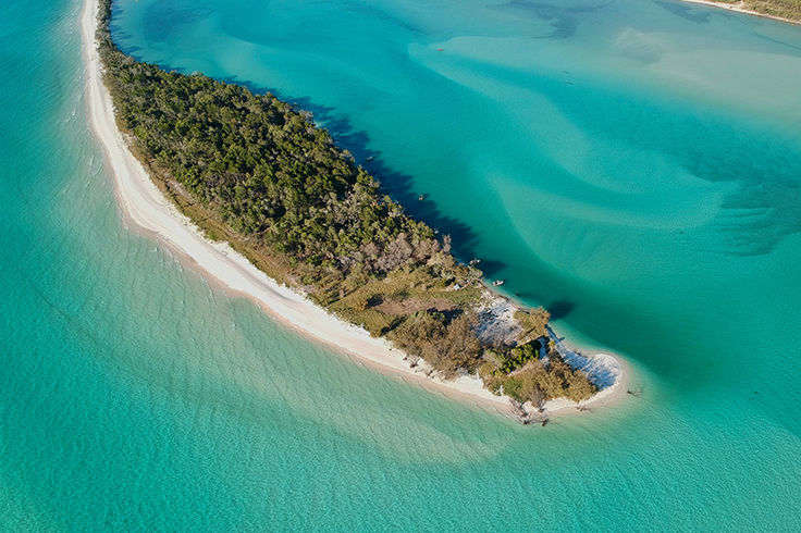 aerial view of a queensland island