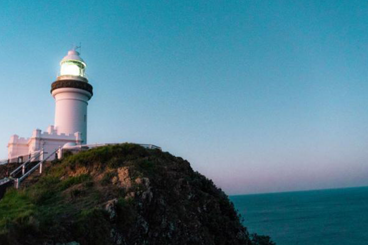 lighthouse byron bay at sunset