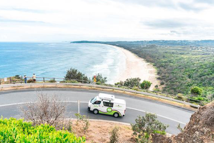 JUCY campervan driving coast road to Cape Byron