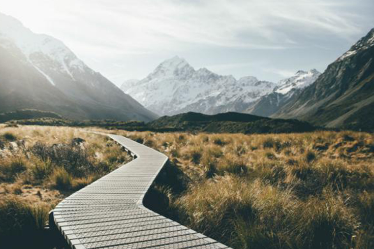 boardwalk in mount cook national park south island new zealand
