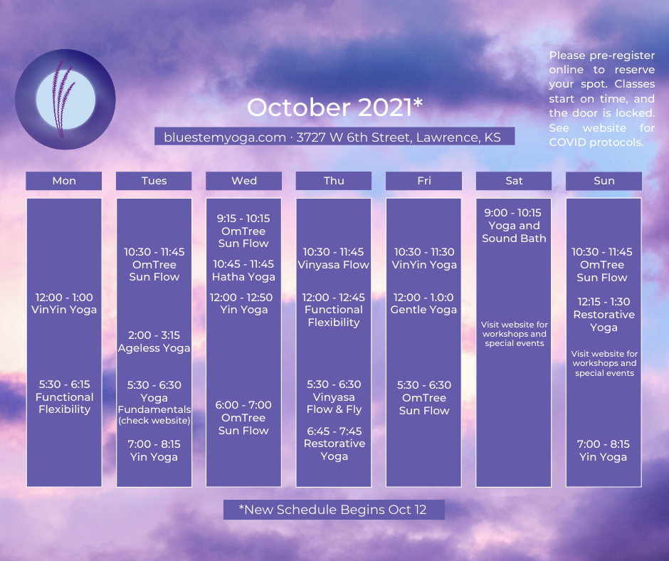 October yoga studio schedule