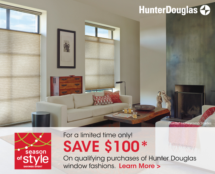 For A Limited Time Only Save 100 On Qualifying Purchases Of Hunter Douglas Window