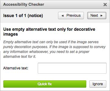 Accessibility Checker Quick Fix