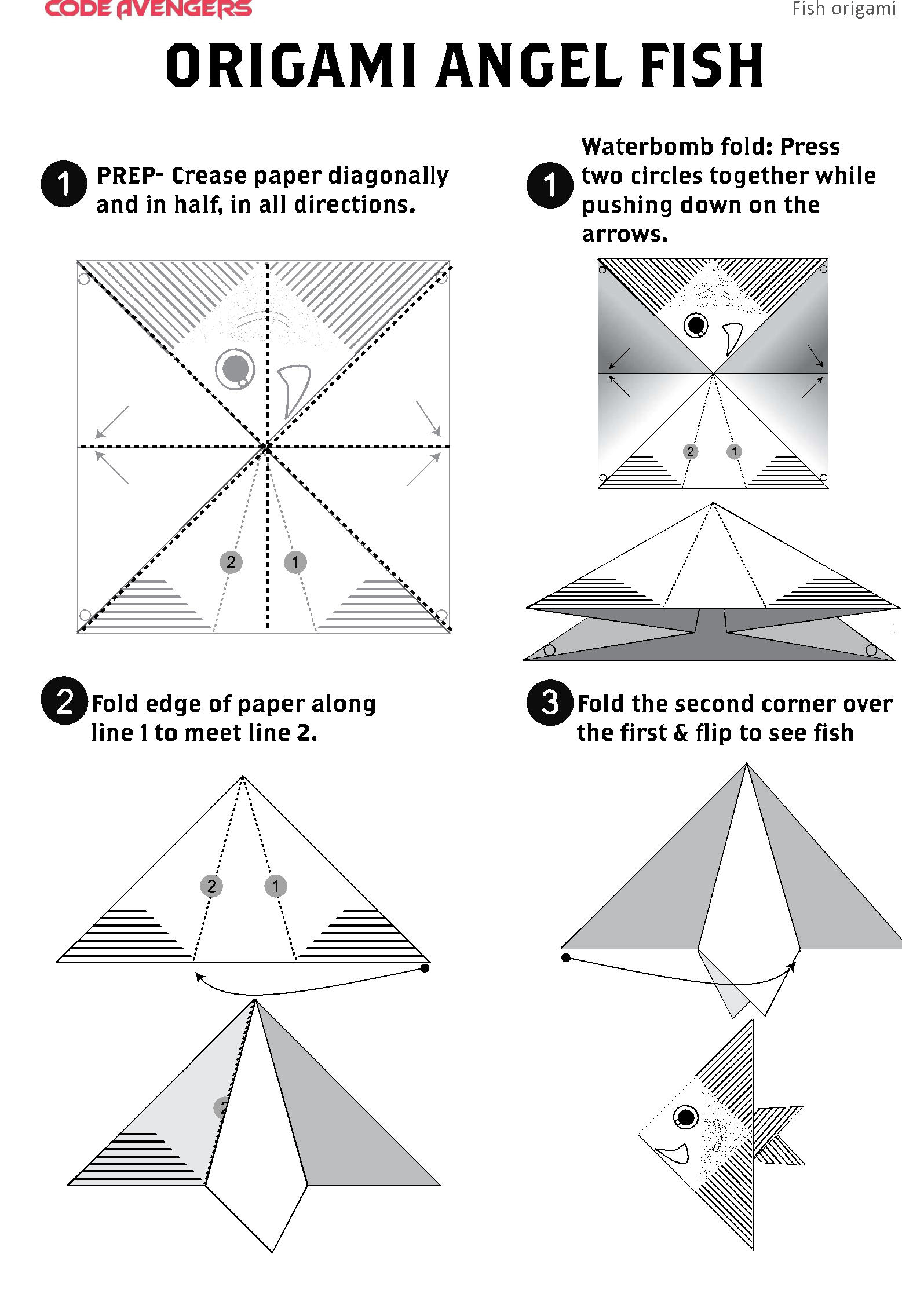Step-By-Step Instructions for Making an Origami Fish | 2272x1557
