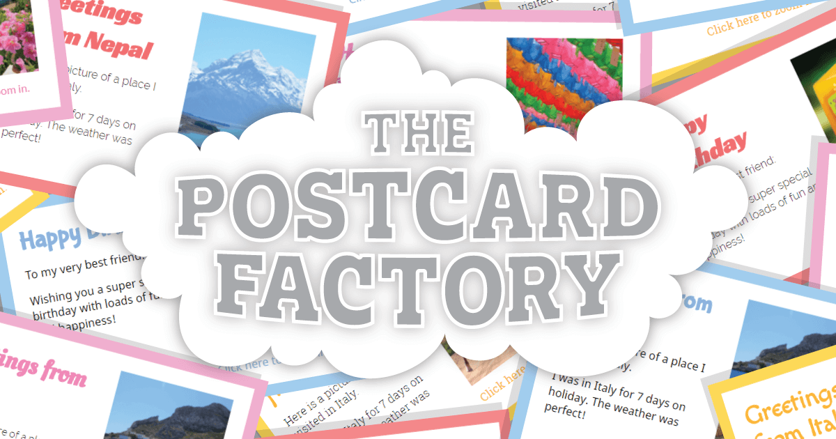 Image of title of course with postcards overlapping