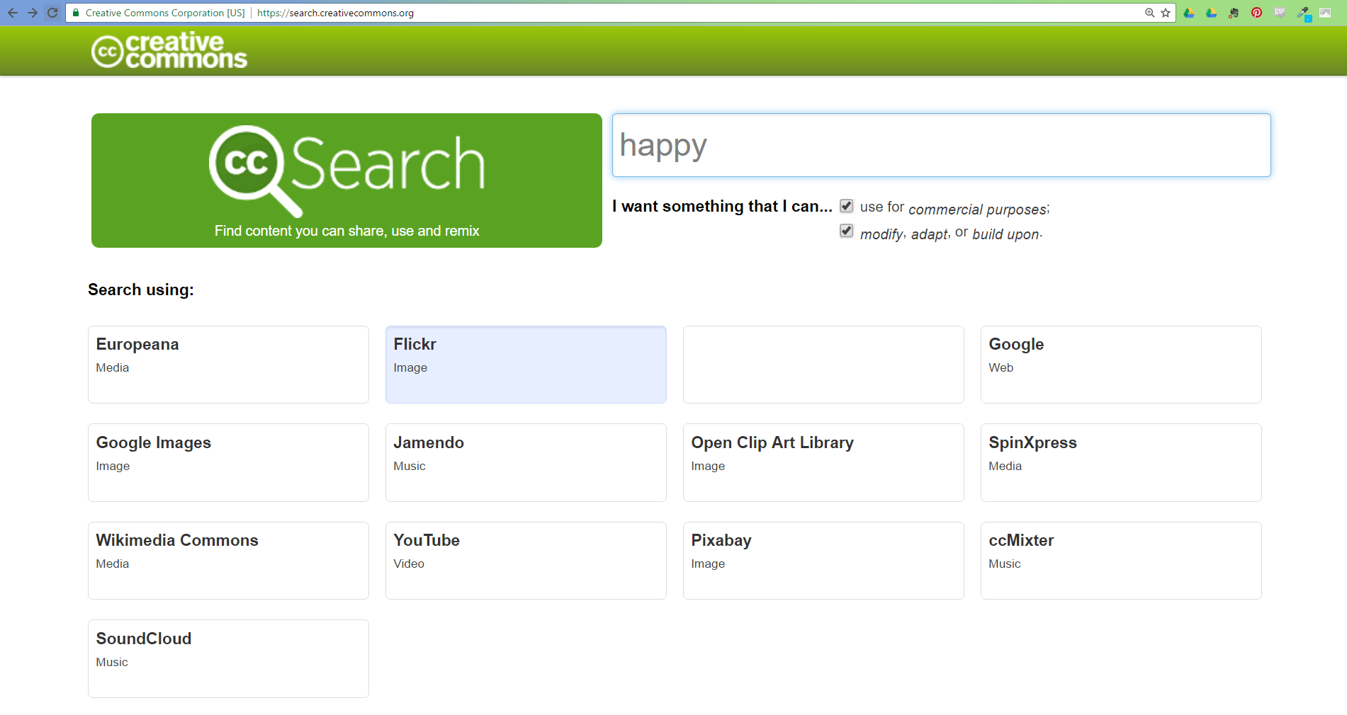 screenshot of C.C. search bar