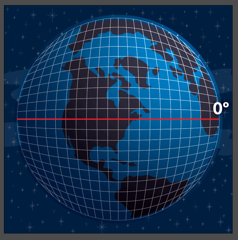 View of the globe with a grid over the top of it