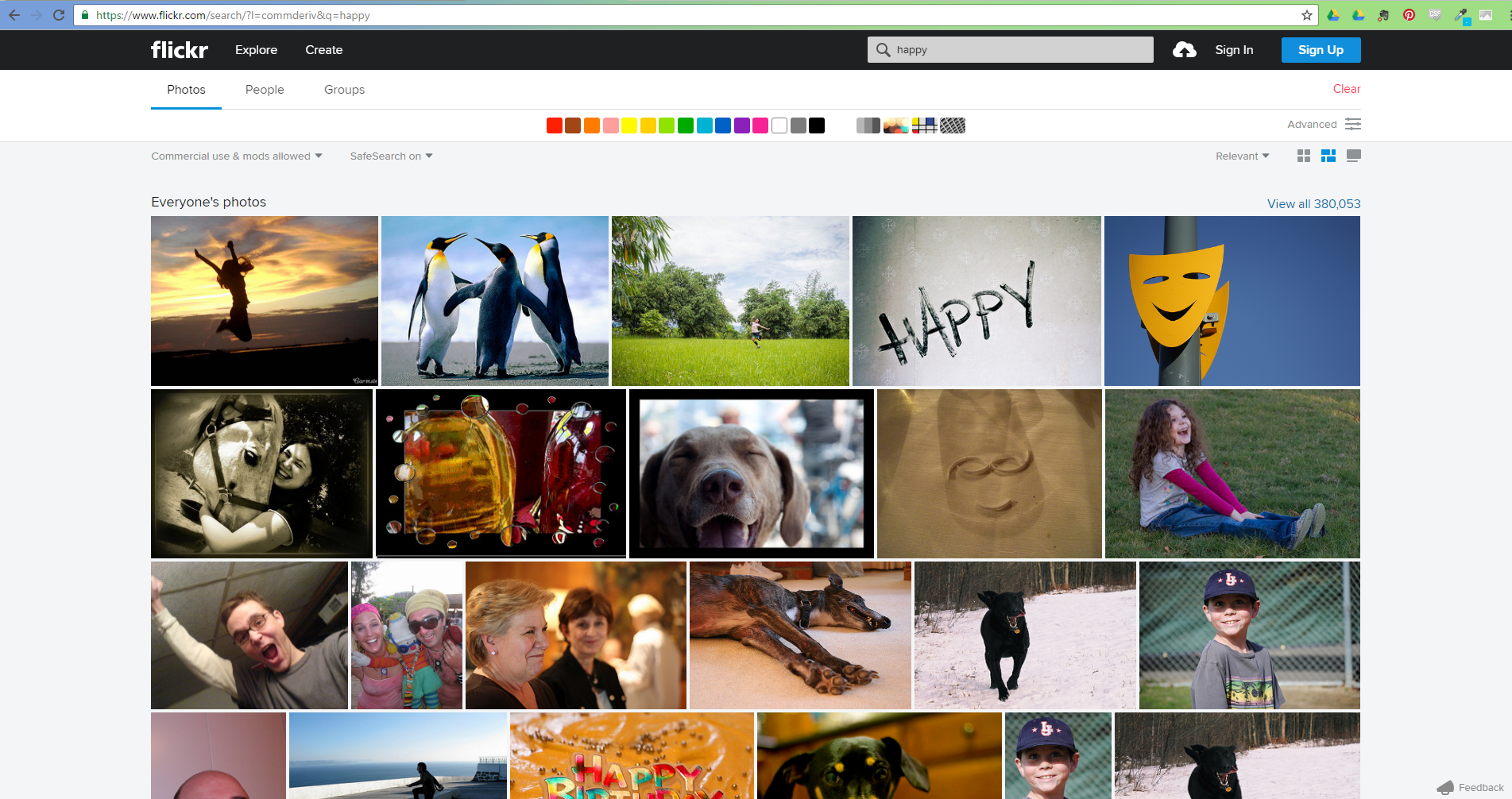 screenshot of a  search on flickr's website