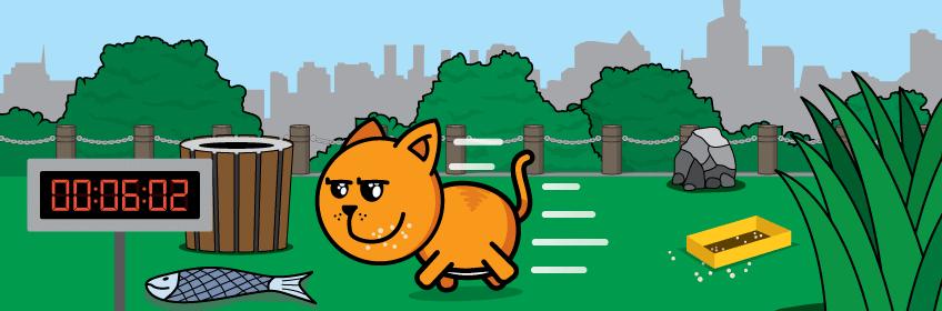 Cartoon cat running around park