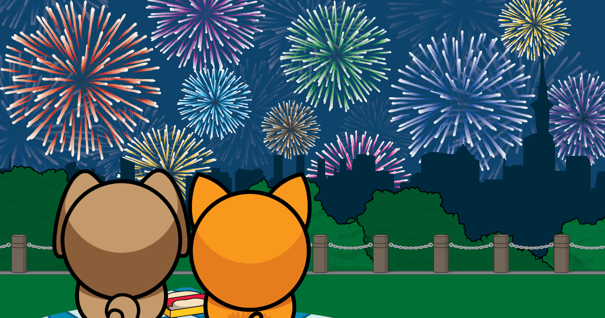 Cartoon dog and cat watching fireworks