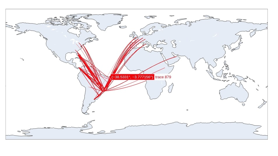 Connection Map Depicting Flights from Brazil to All Other Countries