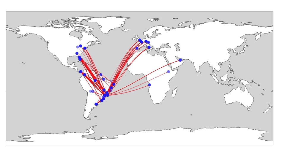 Connection Map Depicting Flights from Brazil to All Other Countries With Airport Locations as Scatter Plot