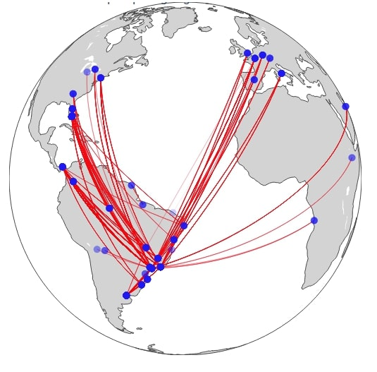 Connection Map Depicting Flights from Brazil to All Other Countries with Airport Locations as Scatter Plot [Orthographic Projection]