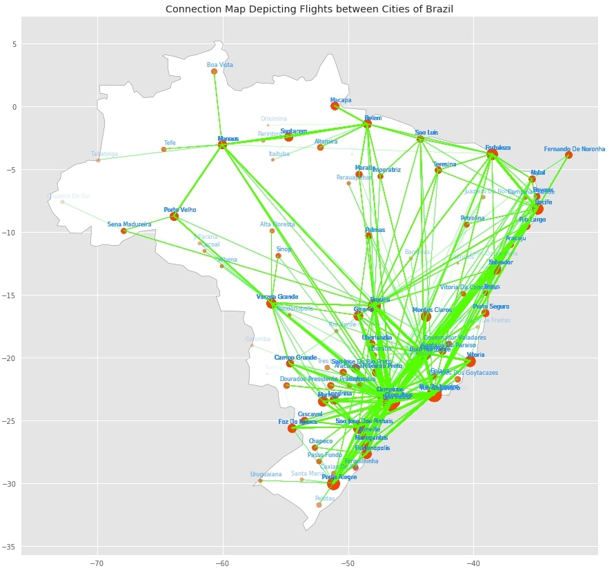 Connection Map Depicting Flights between Cities of Brazil