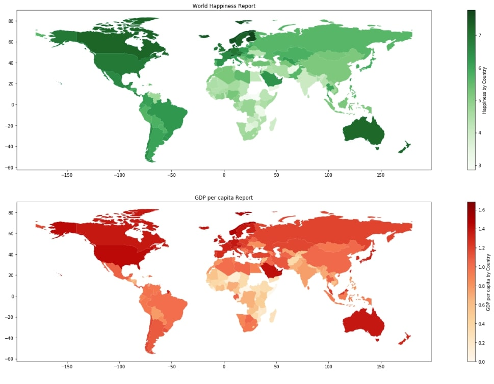World Happiness and GDP Choropleth Map