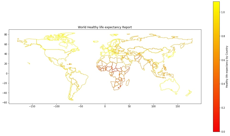 World Healthy Life Expectancy Choropleth Map