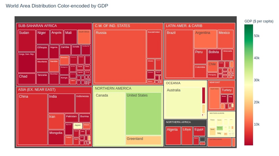 World Area Distribution Color-encoded by GDP Treemap Plotly
