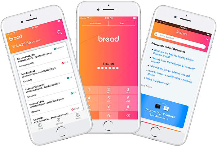 Bread Wallet on iOS