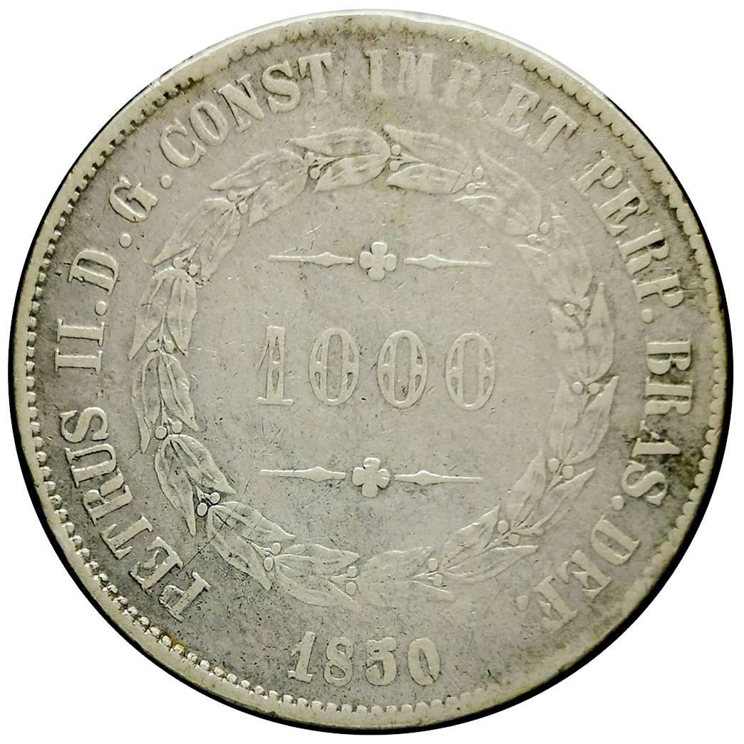 Coin 1000 Réis - Pedro II Brazil obverse