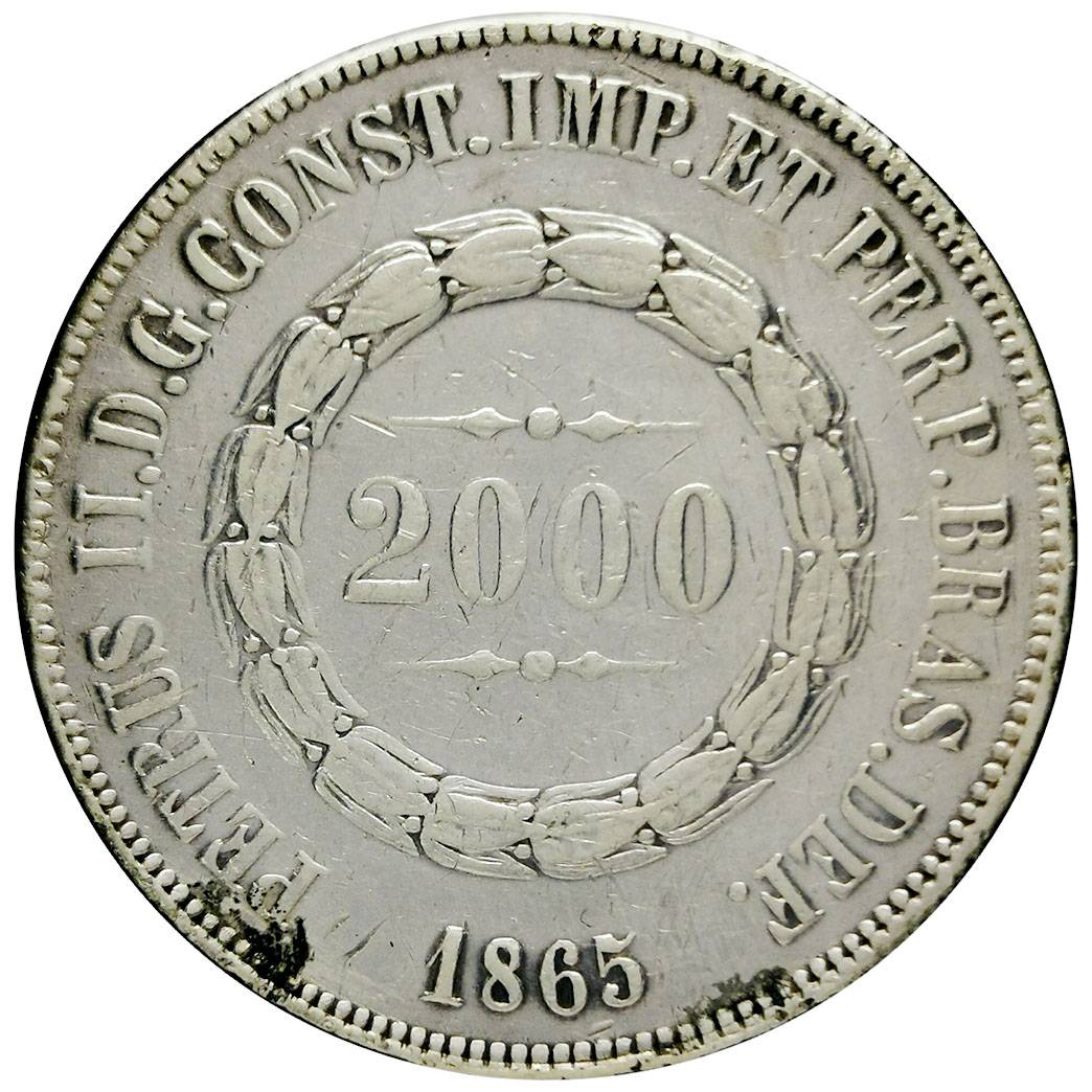 Coin 2000 Réis - Pedro II Brazil obverse