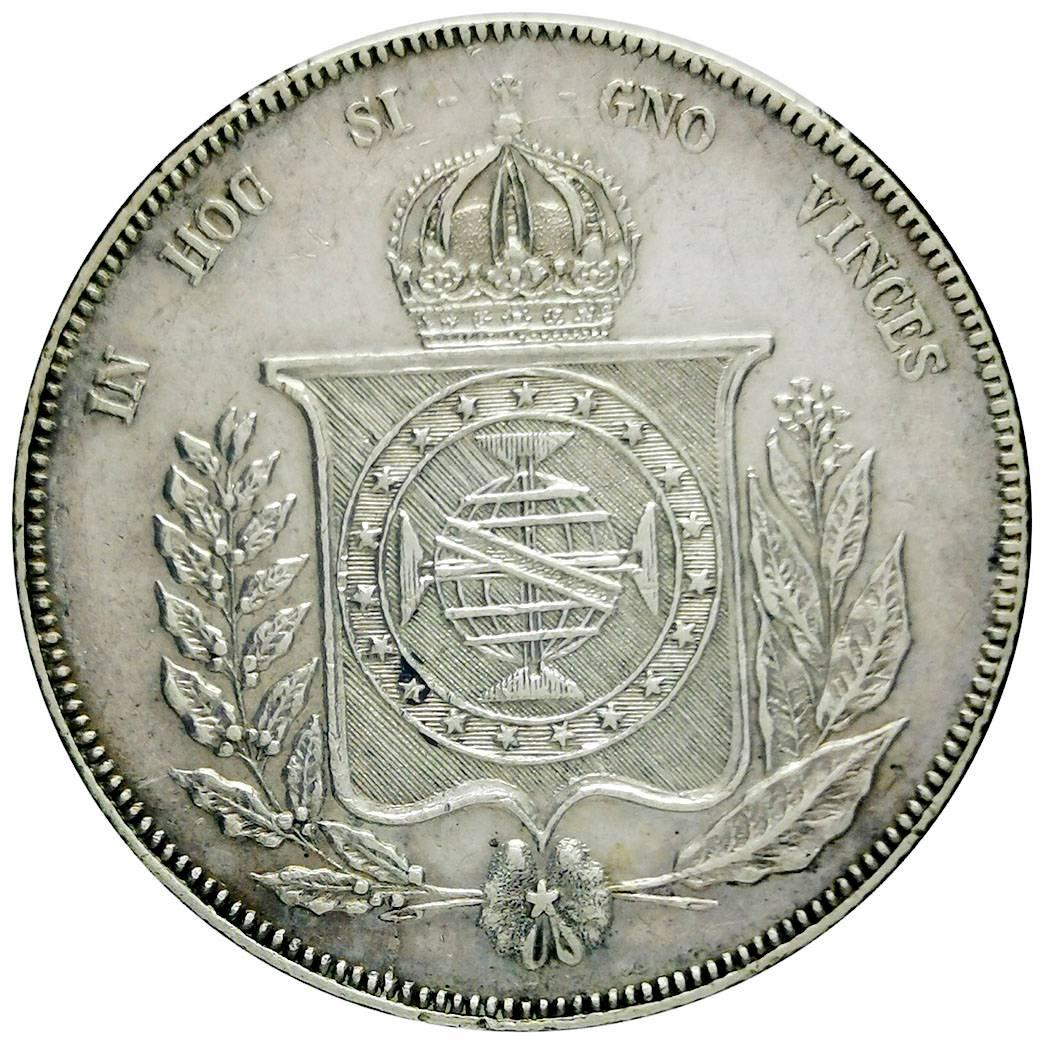 Coin 1000 Réis - Pedro II Brazil reverse
