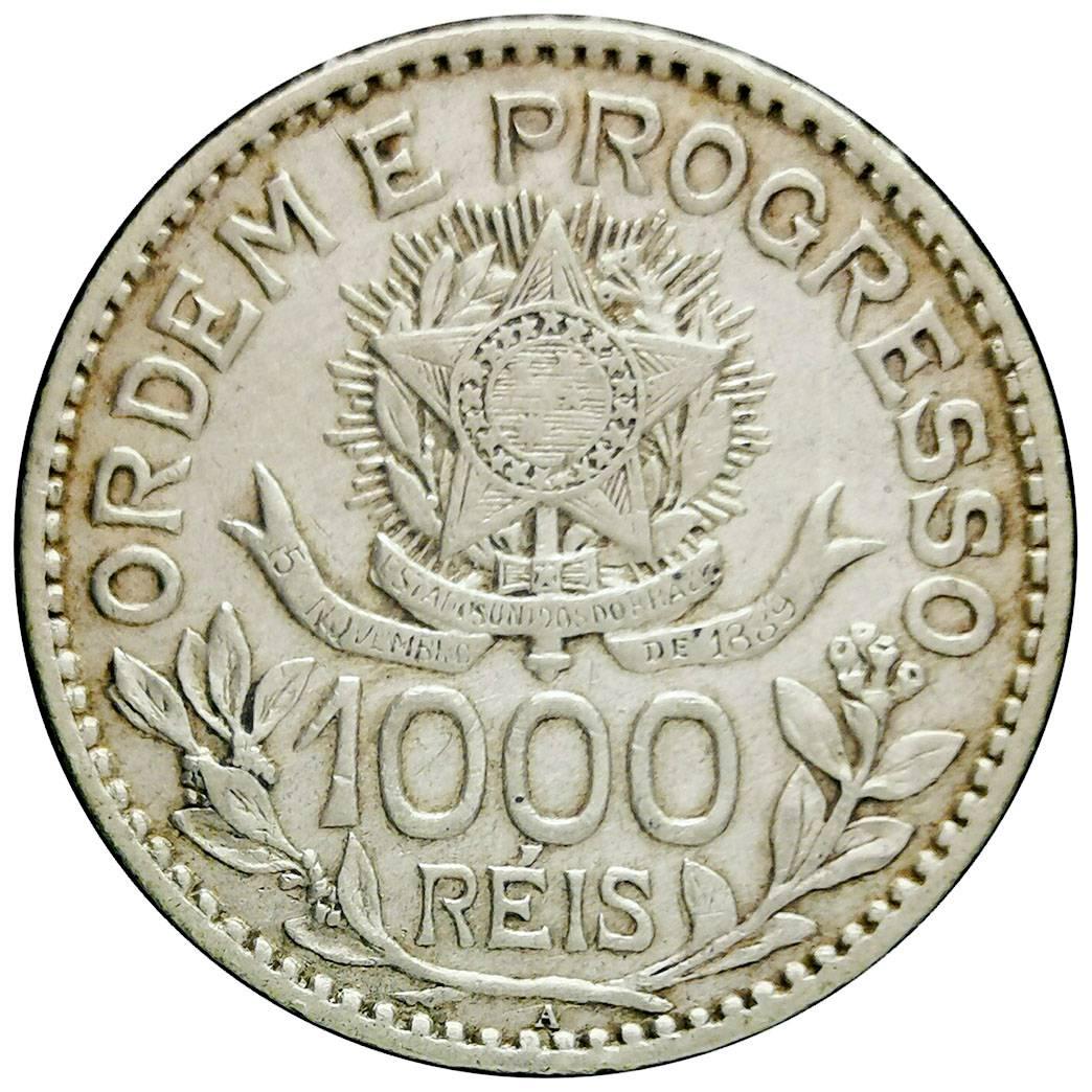 Coin 1000 Réis (no dashes between stars) Brazil obverse