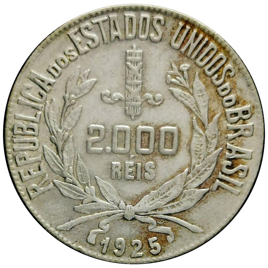 Coin 2000 Réis 1925 - Reverso Inclinado Brazil obverse