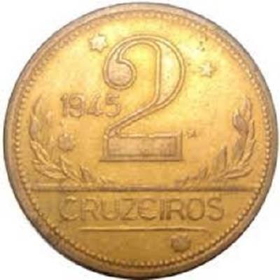 Coin V241b Moeda Brasil 2 Cruzeiros 1945 MAPA Bronze Alumínio sem SIGLA Brazil obverse