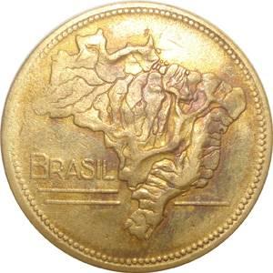 Coin V244 Moeda Brasil 2 Cruzeiros 194 MAPA Bronze Alumínio Brazil reverse