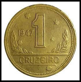Coin V229 Moeda Brasil 1 Cruzeiros 1947 MAPA Bronze Alumínio Brazil obverse