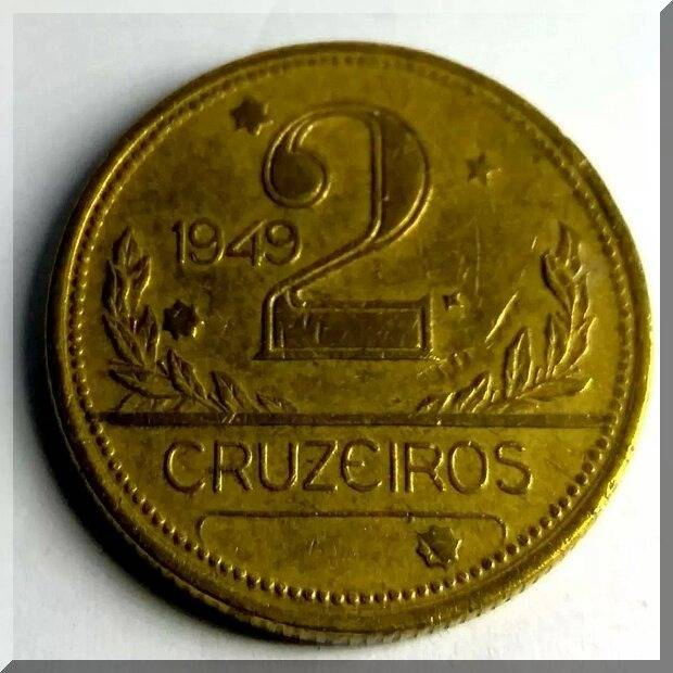 Coin V244a Moeda Brasil 2 Cruzeiros 194 MAPA Bronze Alumínio MAPA DUPLO Brazil obverse