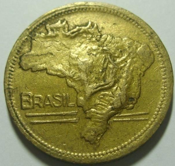 Coin V244a Moeda Brasil 2 Cruzeiros 194 MAPA Bronze Alumínio MAPA DUPLO Brazil reverse