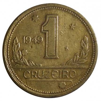 Coin V230 Moeda Brasil 1 Cruzeiros 1949 MAPA Bronze Alumínio Brazil obverse