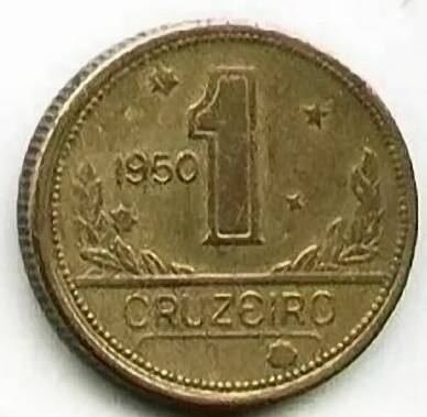 Coin V231 Moeda Brasil 1 Cruzeiros 1950 MAPA Bronze Alumínio Brazil obverse