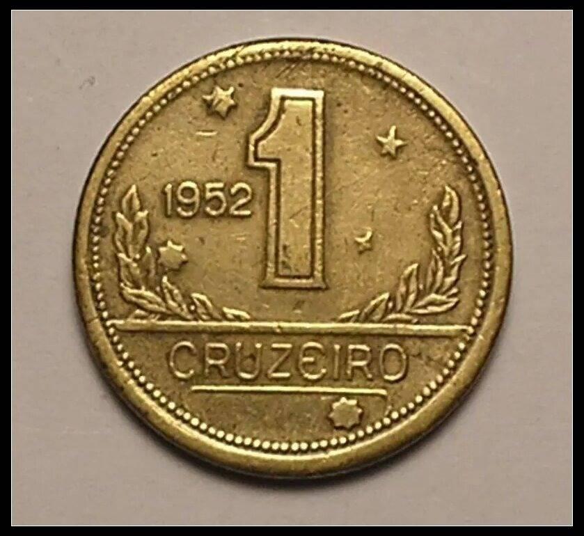 Coin V233 Moeda Brasil 1 Cruzeiros 1952 MAPA Bronze Alumínio Brazil obverse