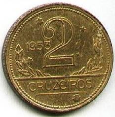 Coin V248 Moeda Brasil 2 Cruzeiros 1953 MAPA Bronze Alumínio Brazil obverse