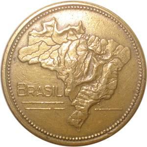 Coin V235 Moeda Brasil 1 Cruzeiros 1954 MAPA Bronze Alumínio Brazil reverse