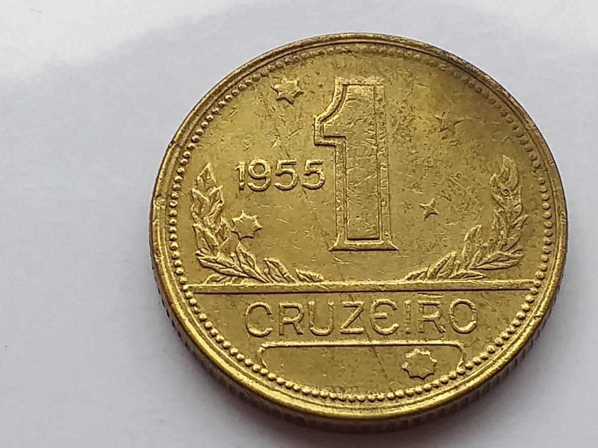 Coin V236 Moeda Brasil 1 Cruzeiros 1955 MAPA Bronze Alumínio Brazil obverse
