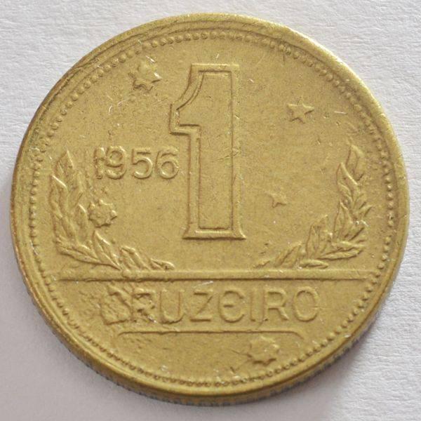 Coin V237 Moeda Brasil 1 Cruzeiros 1956 MAPA Bronze Alumínio Brazil obverse