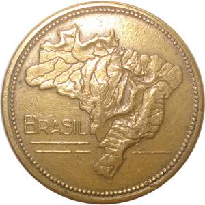 Coin V237 Moeda Brasil 1 Cruzeiros 1956 MAPA Bronze Alumínio Brazil reverse
