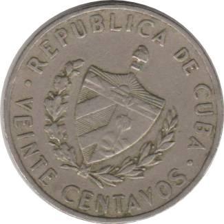 Coin 20 Centavos (José Martí) Cuba obverse