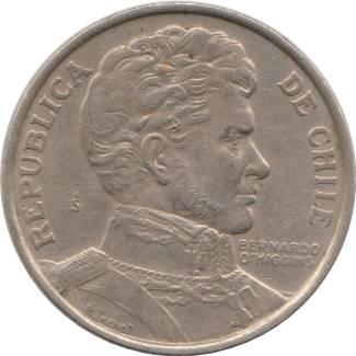 """Coin 1 Peso (""""BERNARDO O'HIGGINS"""") Chile reverse"""
