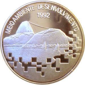 Coin P728 Moeda Brasil 2000 Cruzeiros 1992 Encontro Para o Meio Ambiente e Desenvolvimento (Conference On Environment & Development) Brazil obverse