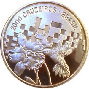 Coin P728 Moeda Brasil 2000 Cruzeiros 1992 Encontro Para o Meio Ambiente e Desenvolvimento (Conference On Environment & Development) Brazil reverse